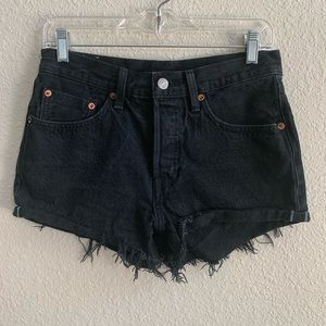 Levi's 501 Selvedge Black Button Fly Cutoff Shorts